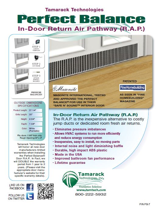 Click here for product specifications  sc 1 st  Tamarack Technologies & Perfect Balance In-Door Air Pressure Relief System