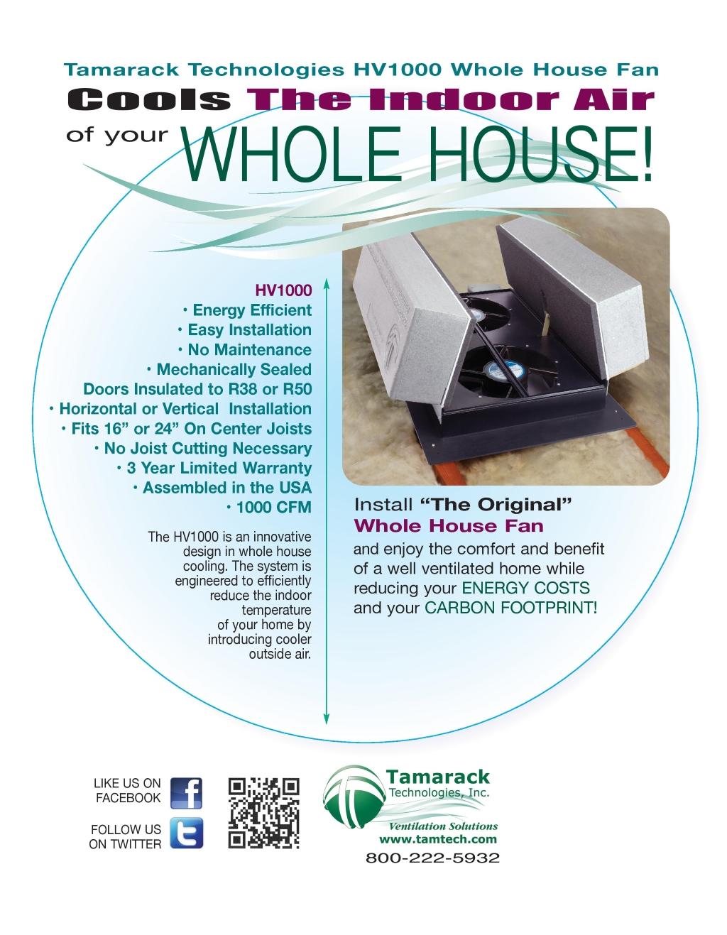 HV1000 R38 Whole House fan - Tamarack Technologies