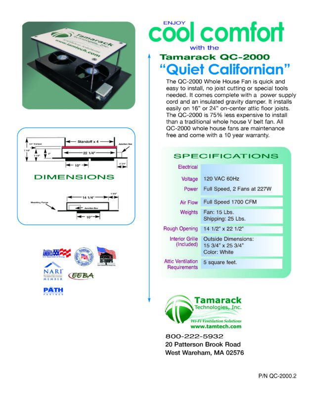 QC2000 Quiet California Whole House Fan Specifications Sheet page 2