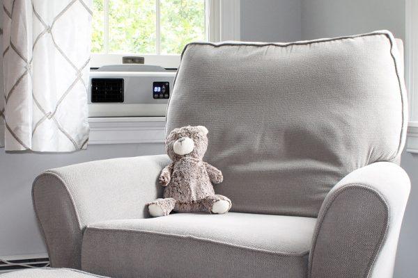 Cape BreeZ filtering window fan in child's bedroom