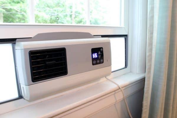 Cape BreeZ filtering window fan installed