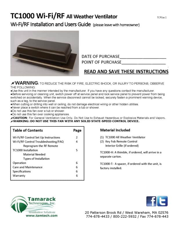 TC1000 WiFi Installation Manual Page 1