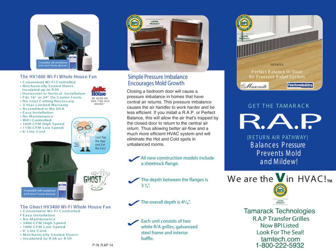 Return Air Pathway Trifold New Construction and Retrofit RAP Specifications page 1 with Whole House Fan Info on panel