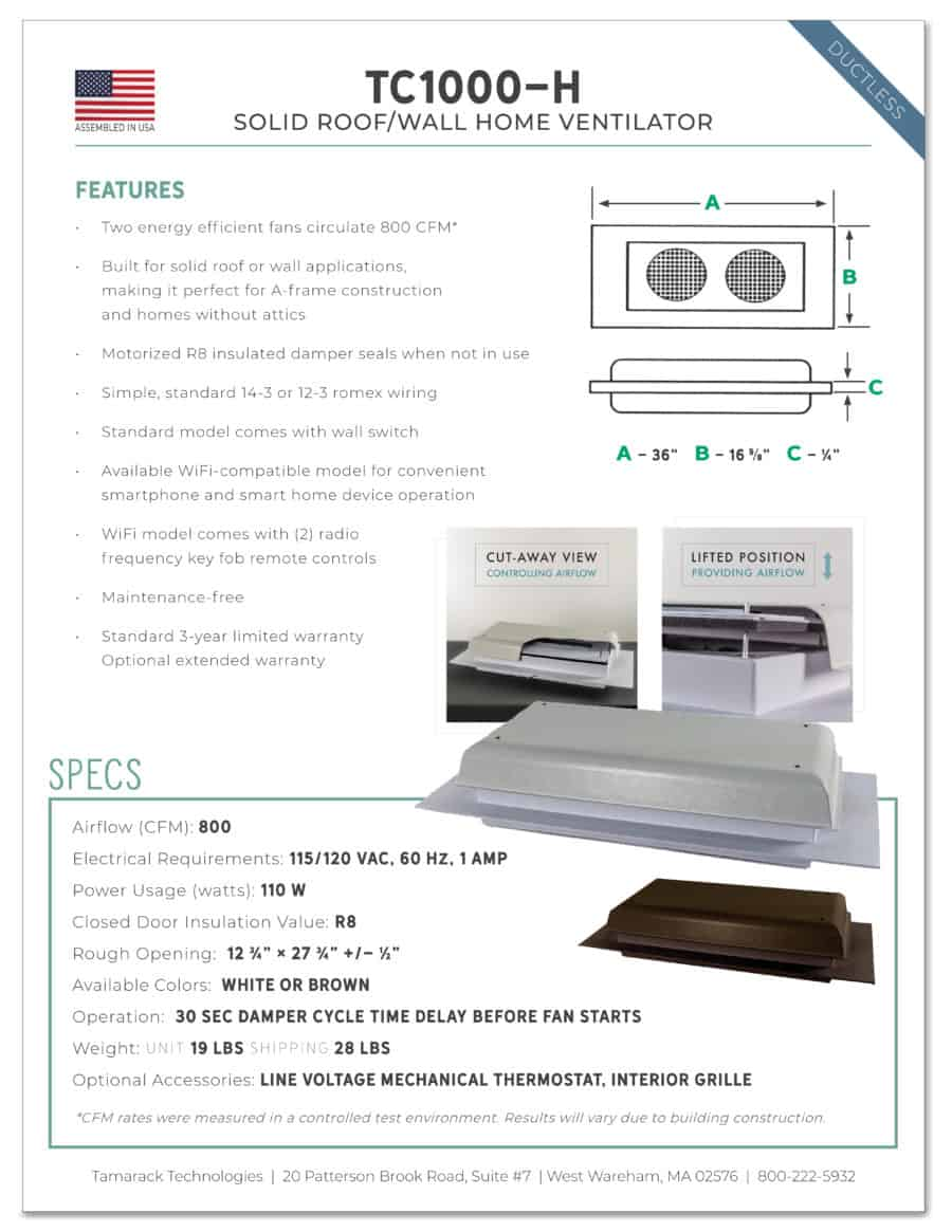 Specs and product details for the TC1000-H solid roof/wall home ventilator by Tamarack Technologies
