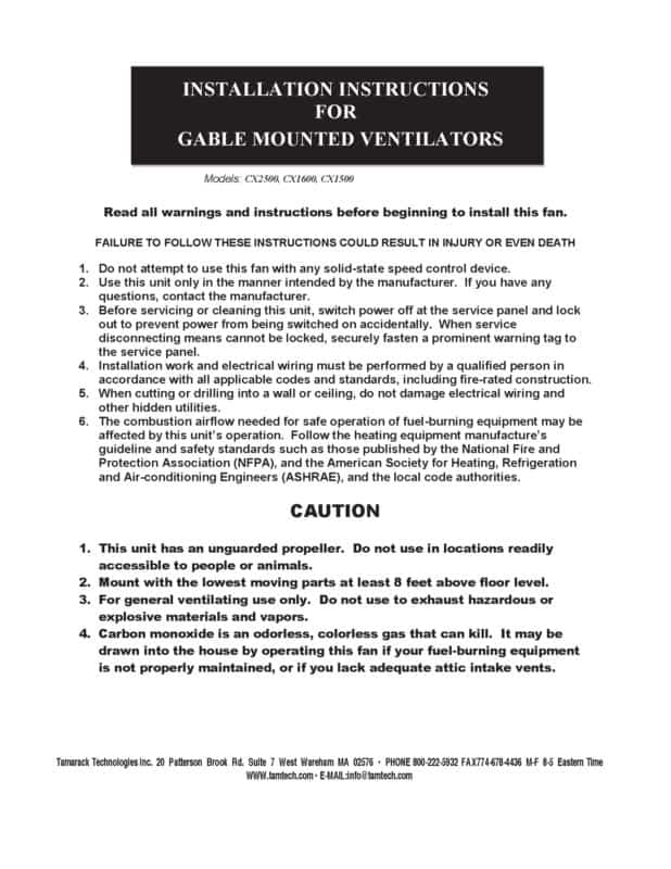 Gable Mounted Power Ventilator Attic Fan Installation Manual Page One