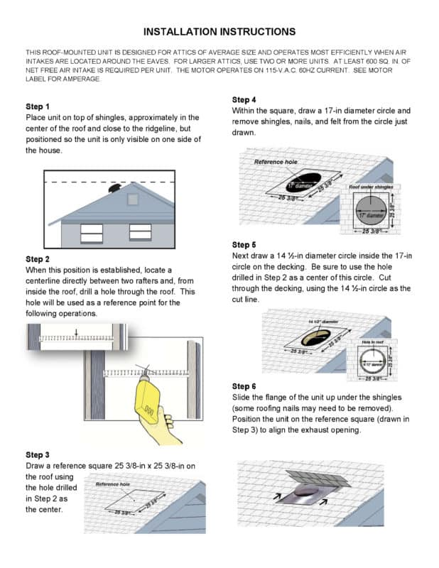 Powered Roof Vent 1080 Cfm Cx1000 Tamarack Technologies Inc