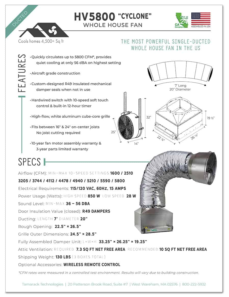 HV5800M Specification Sheet Page One