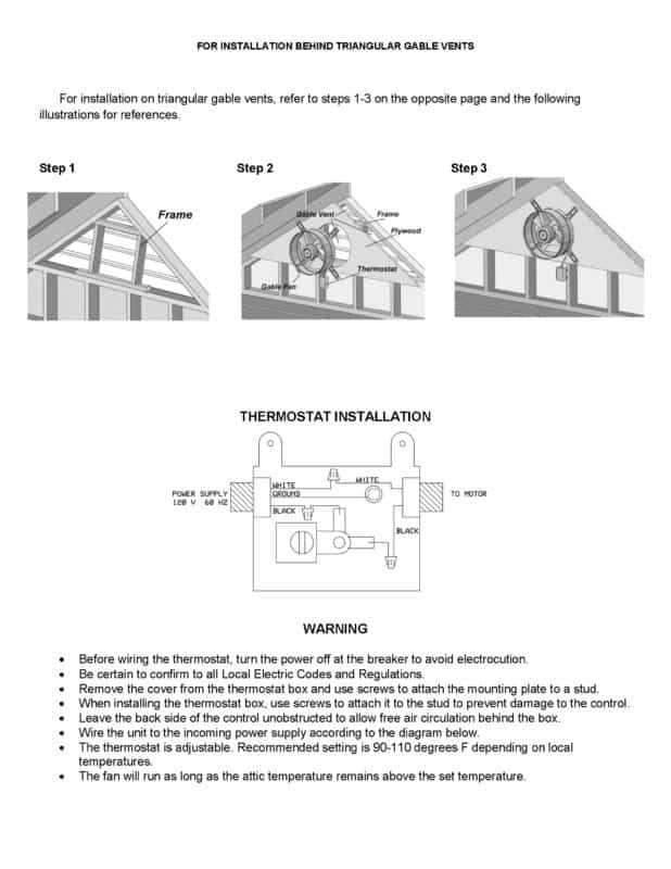 Gable Mounted Power Ventilator Attic Fan Installation Manual Page Three