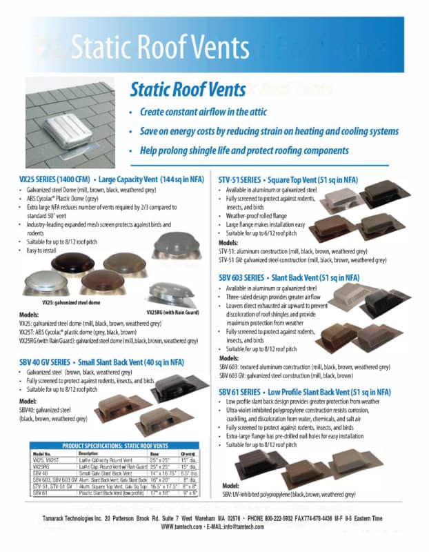 Static Vent Specifications Sheet