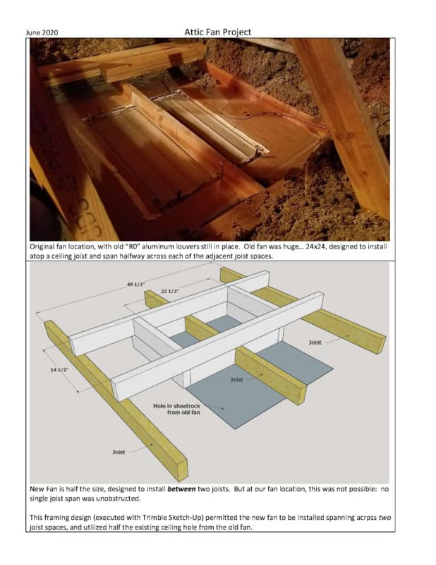 Whole House Fan Project Page 1Installation of the HV1000 with a joist in the rough opening solution