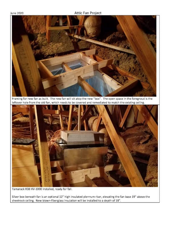 Whole House Fan Project Installation of the HV1000 with a joist in the rough opening solution page 2