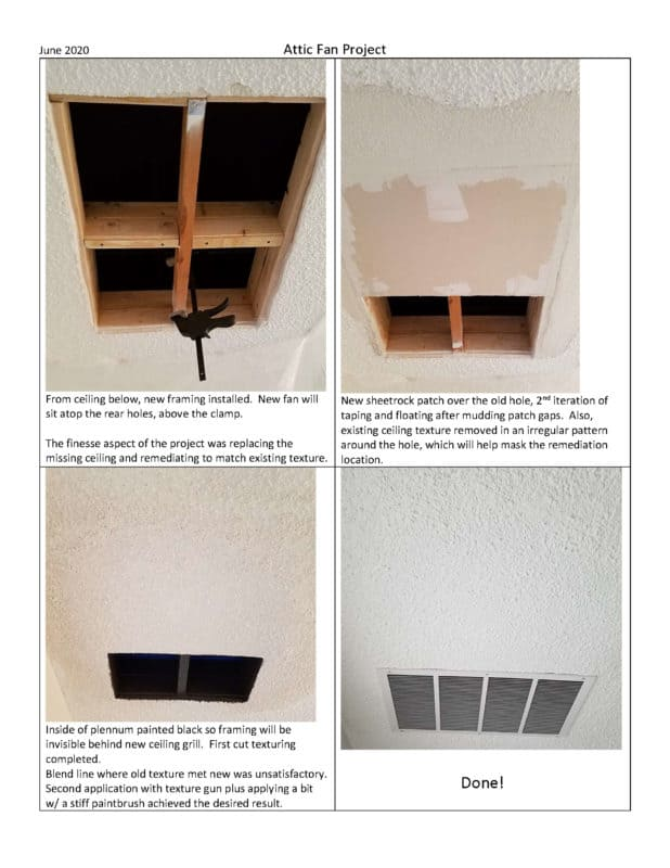 Whole House Fan Project Installation of the HV1000 with a joist in the rough opening solution page 3