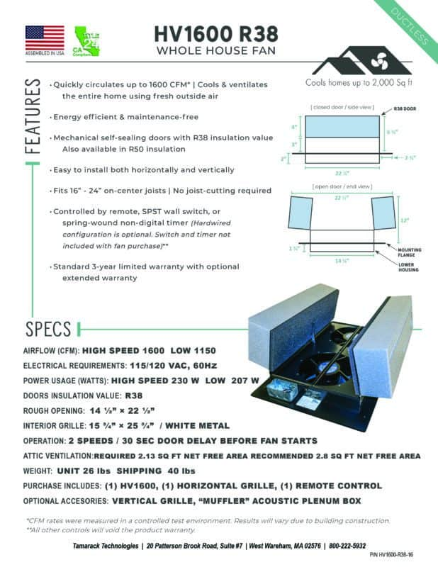 HV1600 R38 Product Specifications Cutsheet