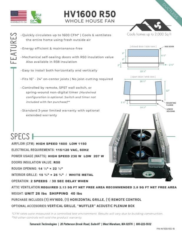 Product Specifications HV1600 R50 Whole House Fan Attic Fan Cutsheet