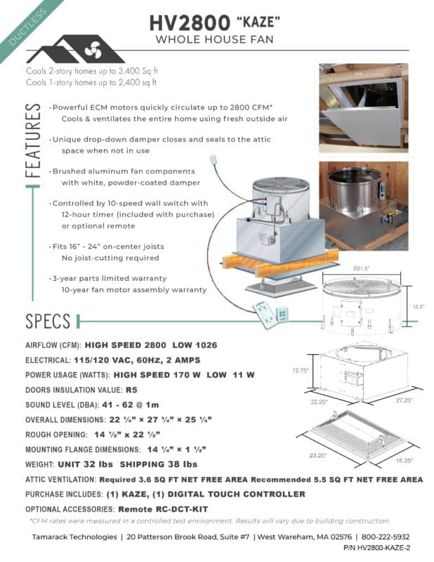 HV2800 Kaze Ductless Whole House Fan Product Specifications Cutsheet