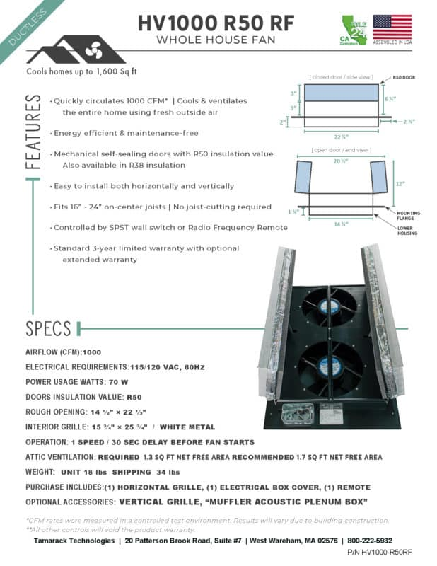 Product Specifications HV1000R50-RF